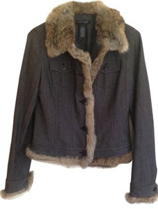 Kenneth Cole Dark grey with Brown Fur Womens Jean Jacket