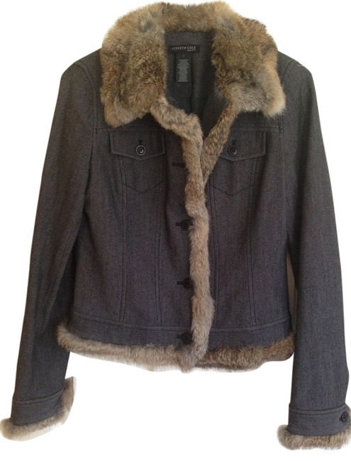 Preload https://img-static.tradesy.com/item/3855907/kenneth-cole-dark-grey-with-brown-fur-new-york-denim-jacket-size-4-s-0-0-650-650.jpg