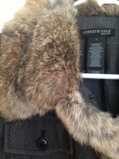 Kenneth Cole Size 4 Dark grey with Brown Fur Womens Jean Jacket