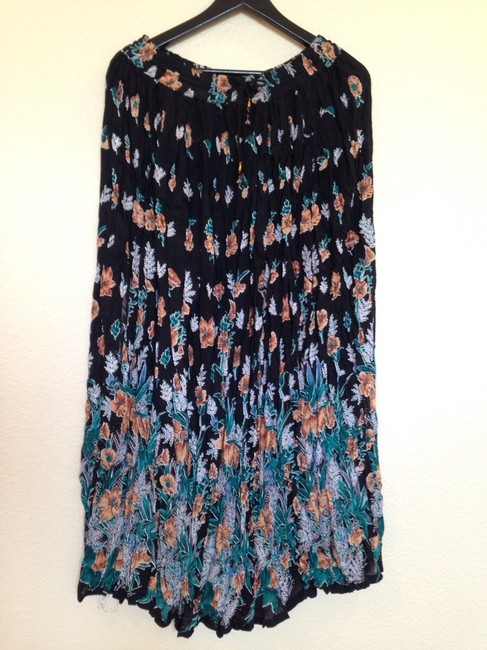 I.K. Collections Broomstick Rayon Hippie New With Tags Maxi Skirt Black