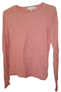 DKNY Longsleeve Orange Pink Layering Cotton Cashmere T Shirt Salmon