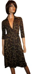 Diane von Furstenberg 100% Silk Brown Beige Mary Jo Dress