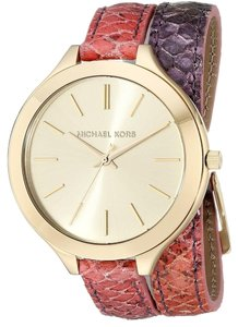 Michael Kors Michael Kors Gold Dial Pink and Purple Snake Print Leather Wrap Bracelet Ladies Watch