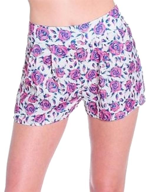 Item - Pink Gray High Waist Vintage Look Floral Print Pleat Shorts Size 6 (S, 28)