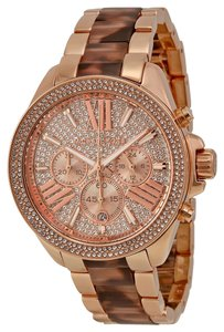 Michael Kors Michael Kors Crystal Pave Dial Rose Gold-tone and Tortoise-shell Ladies Watch