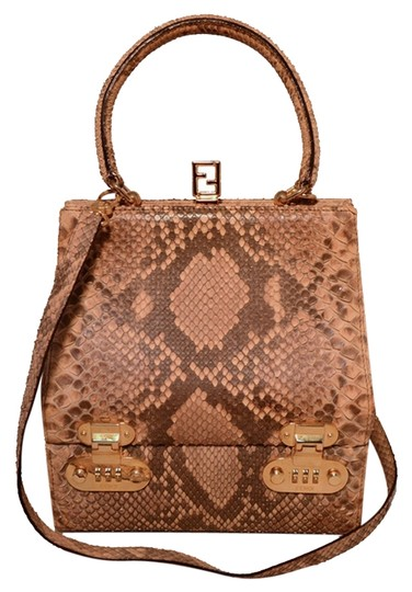 Fendi Snakeskin Rare Travel Case Cosmetic Case Python Tote in Brown