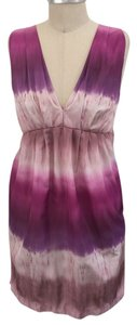 ADAM Designer Lippes Pink Dip Dye Ombre Mini Empire Waist Dress