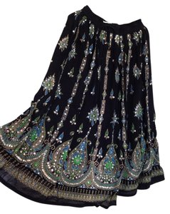 I.K. Collections India Bohemian Boho Gypsy Hippie Rayon Broomstick Maxi Skirt Black