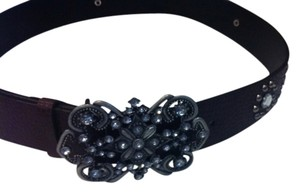 Olga Santini Genuine-Leather Silver-Buckle Bling Belt Olga Santini 30-34