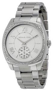 Michael Kors Michael Kors Silver Dial Crsytal Bezel Silver Tone Stainless Steel Ladies Watch