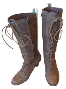 UGG Australia Tall Taupe Fawn Shearling Sheepskin Laces High Heel Heel Leather Lambskin Lace-up Zipper Brown Boots