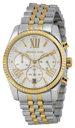 Preload https://item4.tradesy.com/images/michael-kors-silver-gold-mother-of-pearl-two-tone-and-ladies-watch-3857248-0-0.jpg?width=440&height=440