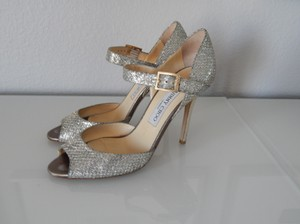 Jimmy Choo Lace Champagne Glitter Fabric Peep Toe Pumps Wedding Shoes