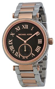 Michael Kors Michael Kors Black Dial Crsytal Two-tone Silver Rose Gold Ladies Watch