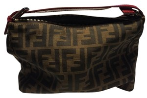 Fendi Canvas Pvc Lining Red Handle Brown with Black FF Clutch