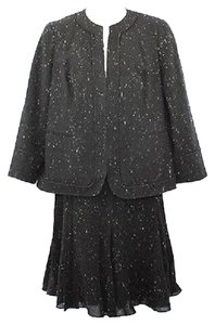 Lafayette 148 New York LAFAYETTE 148 NEW YORK WHITE SPECKLED BLACK WOOL BLEND SKIRT SUIT 14