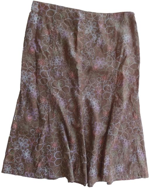 Kim Rogers Skirt Brown with Multi Colored Floral Print