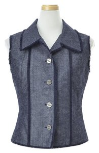 Chanel Women's Clothing Vests Top Blue