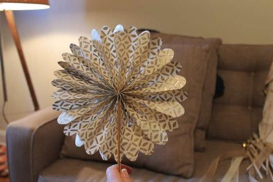 BHLDN Gold Ivory Pink 23 and Paper Wheels Reception Decoration Image 6