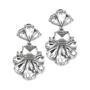 Clear/Silver Art Deco Icy Crystal and Earrings
