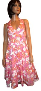 Lilly Pulitzer short dress Pink Willa Palm Beach Swanky Halter Floral 100% Cotton on Tradesy