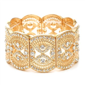 Gold Art Deco Bridal Filigree Crystal Stretch Bracelet