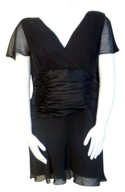 Preload https://item4.tradesy.com/images/donna-ricco-black-ruched-waist-knee-length-cocktail-dress-size-16-xl-plus-0x-3858178-0-0.jpg?width=400&height=650