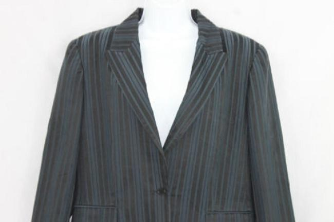 Elie Tahari Single Breasted Navy Blue Cotton Jacket Blazer