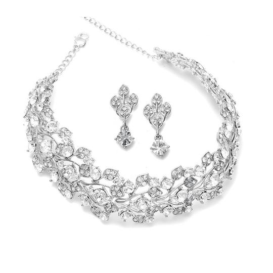 Silver Top-selling Crystal Choker Necklace Jewelry Set
