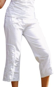 Lirome Boho Embroidery Ibicenco Resort Beach Capris White
