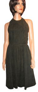 Lyn Devon Leather Suede Halter Dress