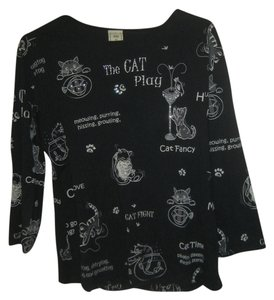 Jess & Jane Usa Cotton Machine Washable Cats Rhinestones Top Black