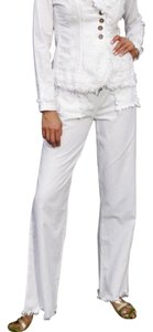 Lirome Bohemian Nautical Cottage Chic Summer Straight Pants White