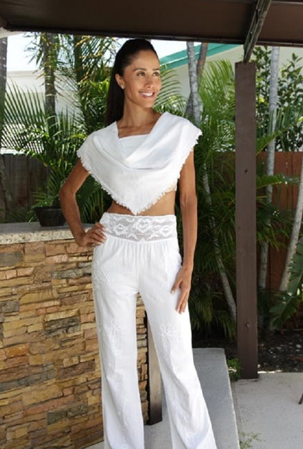 Lirome Embroidered Ceochet Bohemian Summer Relaxed Pants Nude