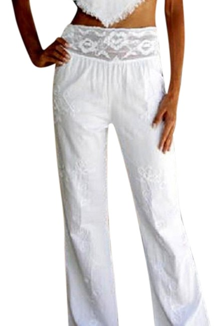 Lirome Embroidery Crochet Organic Summer Relaxed Pants Nude