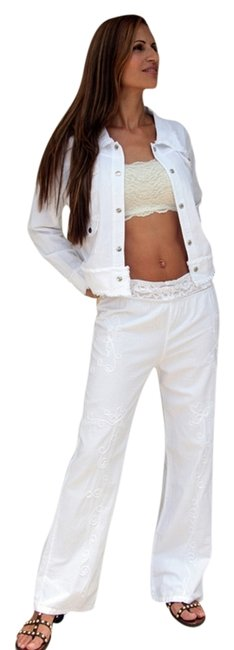 Lirome Summer Resort Vacation Nautical Embroidery Relaxed Pants White Image 1