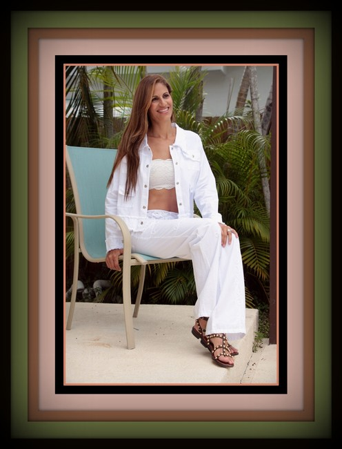 Lirome Summer Resort Vacation Nautical Embroidery Relaxed Pants White Image 5