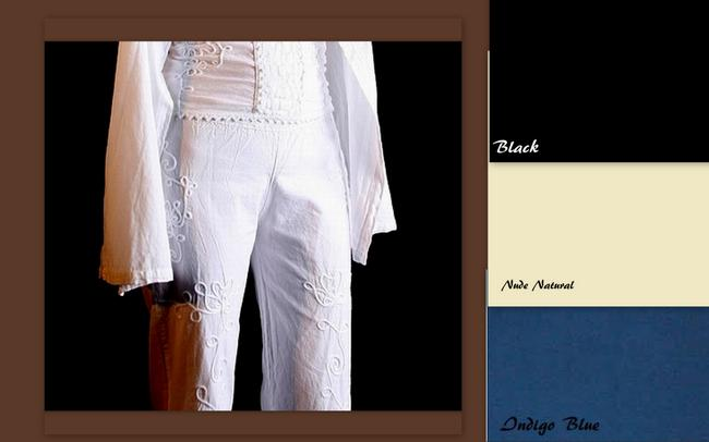 Lirome Summer Resort Vacation Nautical Embroidery Relaxed Pants White Image 6