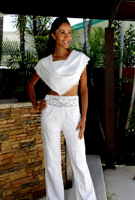 Lirome Summer Resort Vacation Nautical Embroidery Relaxed Pants White Image 7