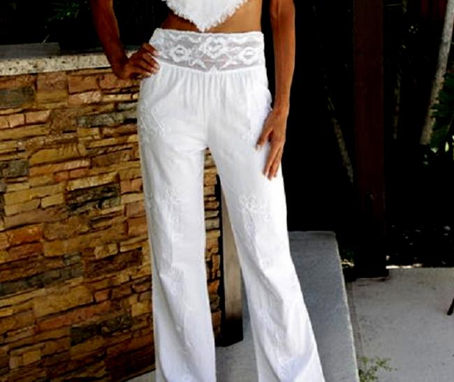 Lirome Summer Resort Vacation Nautical Embroidery Relaxed Pants White Image 8