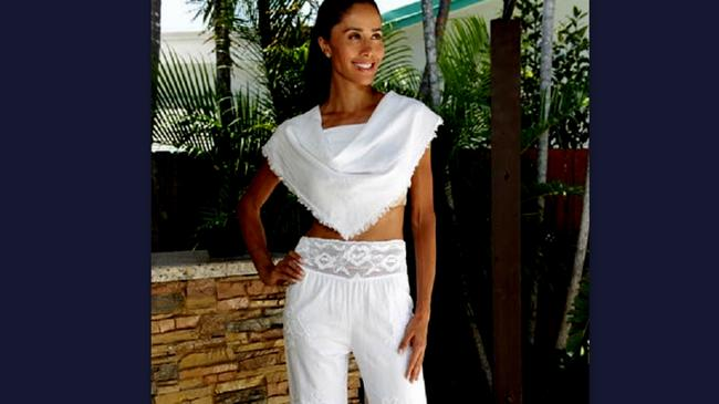 Lirome Summer Resort Vacation Nautical Embroidery Relaxed Pants White Image 9