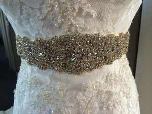 Silver Belt with Beaded Crystal and Pearl Design Sash