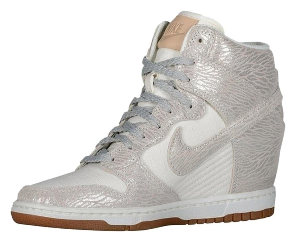 sports shoes 6a053 adf0c Nike White Silver Dunks Sky Hi Wedges