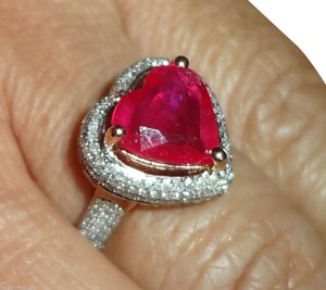3.07ct HEARTSHAPE PINKISH RED RUBY & DIAMOND 14k ROSEGOLD ENGAGEMENT RING
