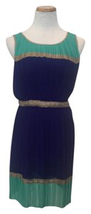 Minuet short dress Blue Colorblock Pleats on Tradesy