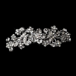 Elegance By Carbonneau Romantic Floral Swarovski Crystal Hair Barrette