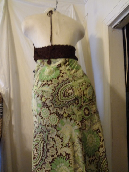Bisou Bisou short dress Brown and Green Halter on Tradesy