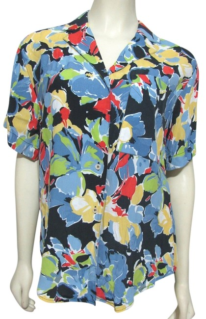 Dior Vintage Christian Abstract Art Print Rainbow Blue Red Rayon Shortsleeve Buttoned Shirt Women Ladies 4 Medium M Floral Top Multi color