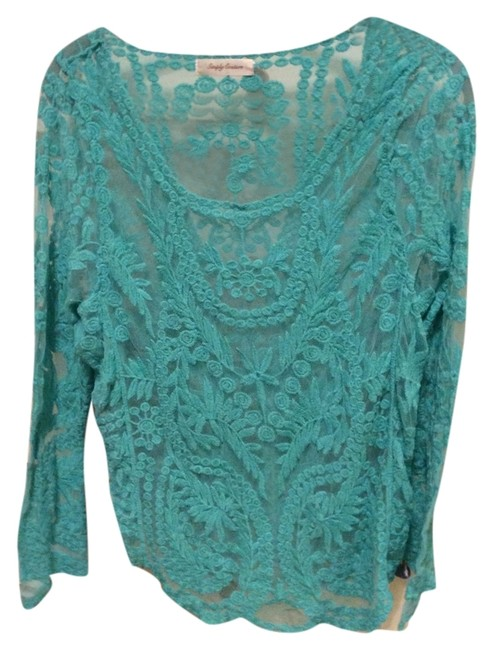 Preload https://item4.tradesy.com/images/turquoise-lace-sweaterpullover-size-4-s-3860248-0-0.jpg?width=400&height=650