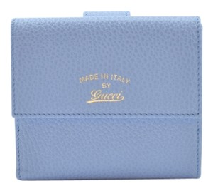 Gucci GUCCI SWING LEATHER BLUE FRENCH WALLET